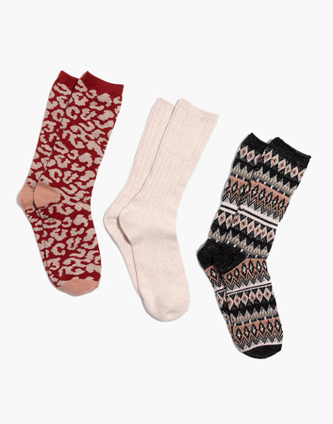 Three-Pack Metallic Mix Trouser Socks in warm sand multi image 1