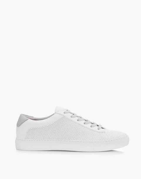 Unisex Koio Capri Granite Perforated Sneakers in White Leather