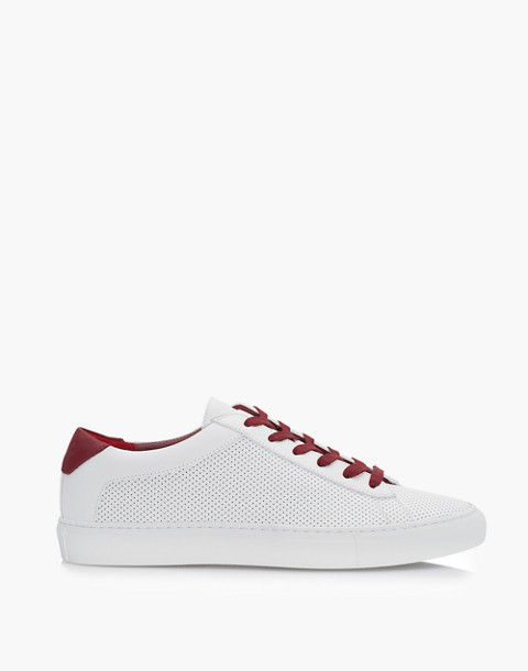 Unisex Koio Capri Chili Perforated Sneakers in White Leather in white image 3