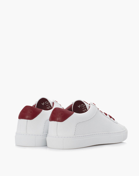 Unisex Koio Capri Chili Perforated Sneakers in White Leather in white image 4