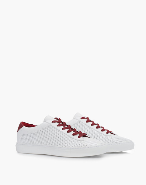 Unisex Koio Capri Chili Perforated Sneakers in White Leather in white image 1