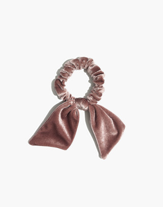 Velvet Bow Scrunchie in marble lilac image 1
