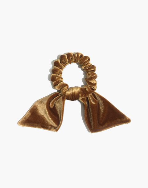 Velvet Bow Scrunchie in nectar gold image 1