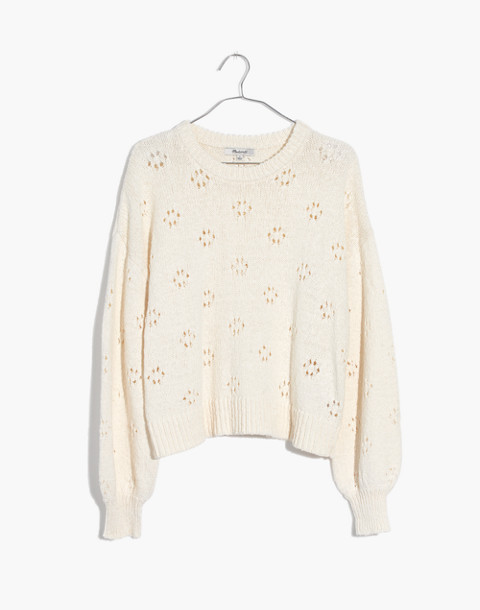 Floral Pointelle Pullover Sweater in bright ivory image 1