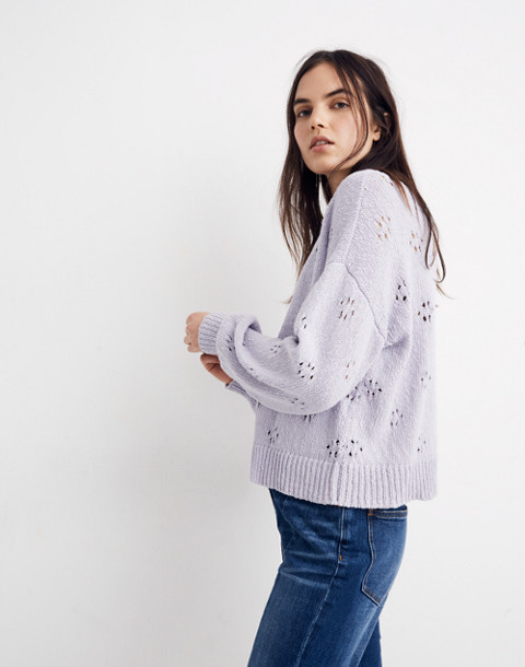 Floral Pointelle Pullover Sweater in sundrenched lilac image 2