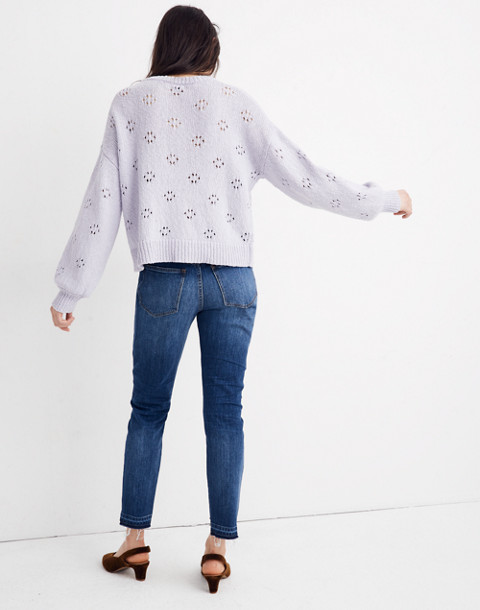 Floral Pointelle Pullover Sweater in sundrenched lilac image 3