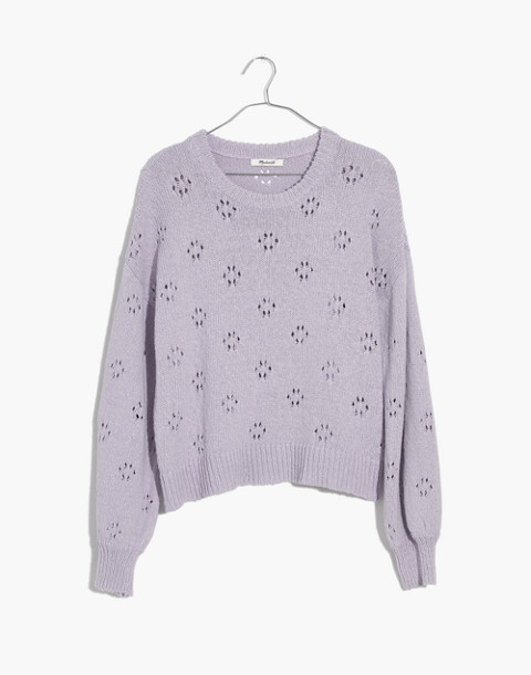 Floral Pointelle Pullover Sweater in sundrenched lilac image 4