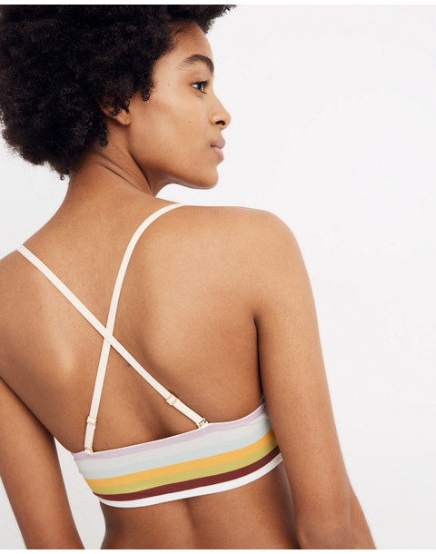 2ac575f5f5 Cotton-Modal reg  Kealy Longline Bralette in Rainbow Stripe in sea haze  multi stripe image