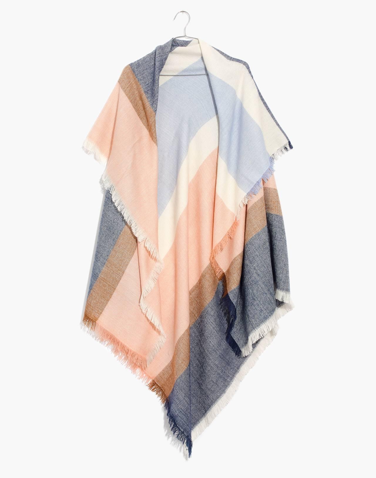 Band Stripe Blanket Scarf in tinted blush multi image 1
