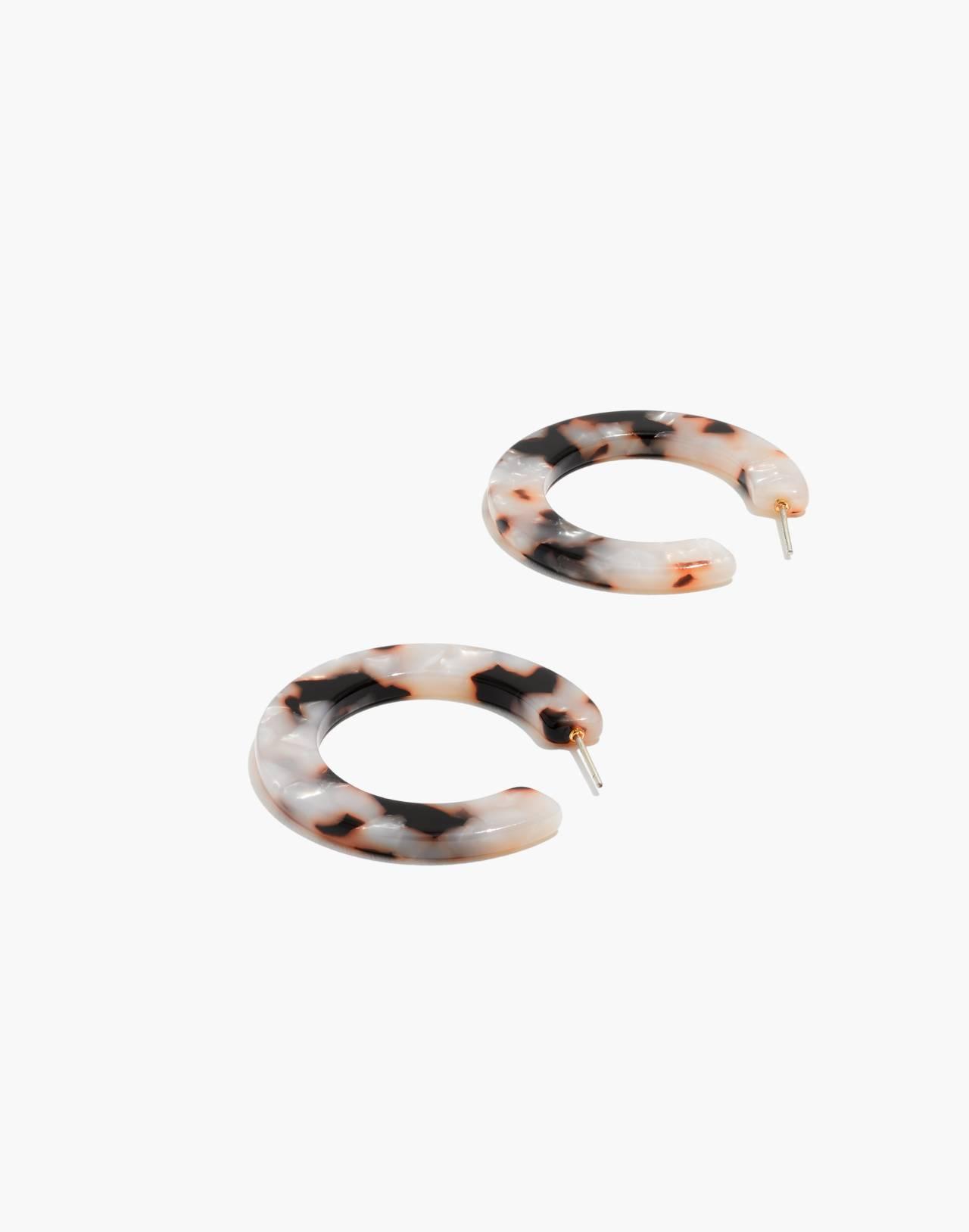 Acetate Hoop Earrings in shell tort image 1