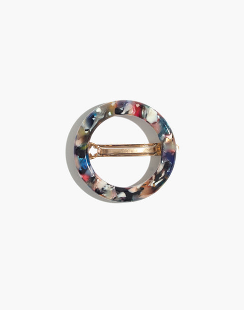 Acrylic Circle Barrette in rainbow tort image 1