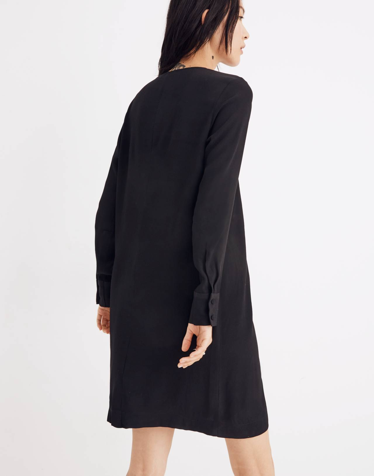 Heather Long-Sleeve Button-Front Dress in true black image 3