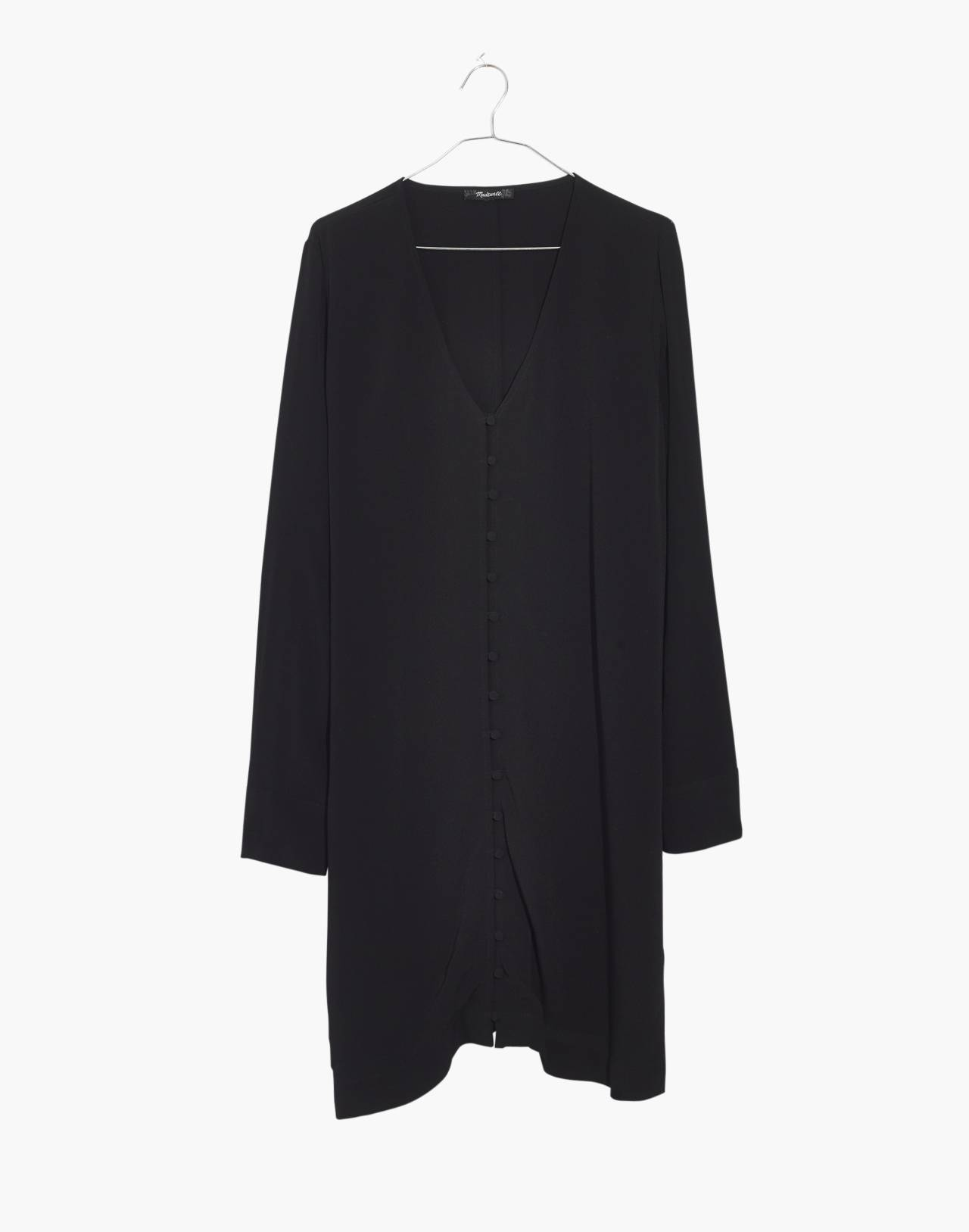 Heather Long-Sleeve Button-Front Dress in true black image 4