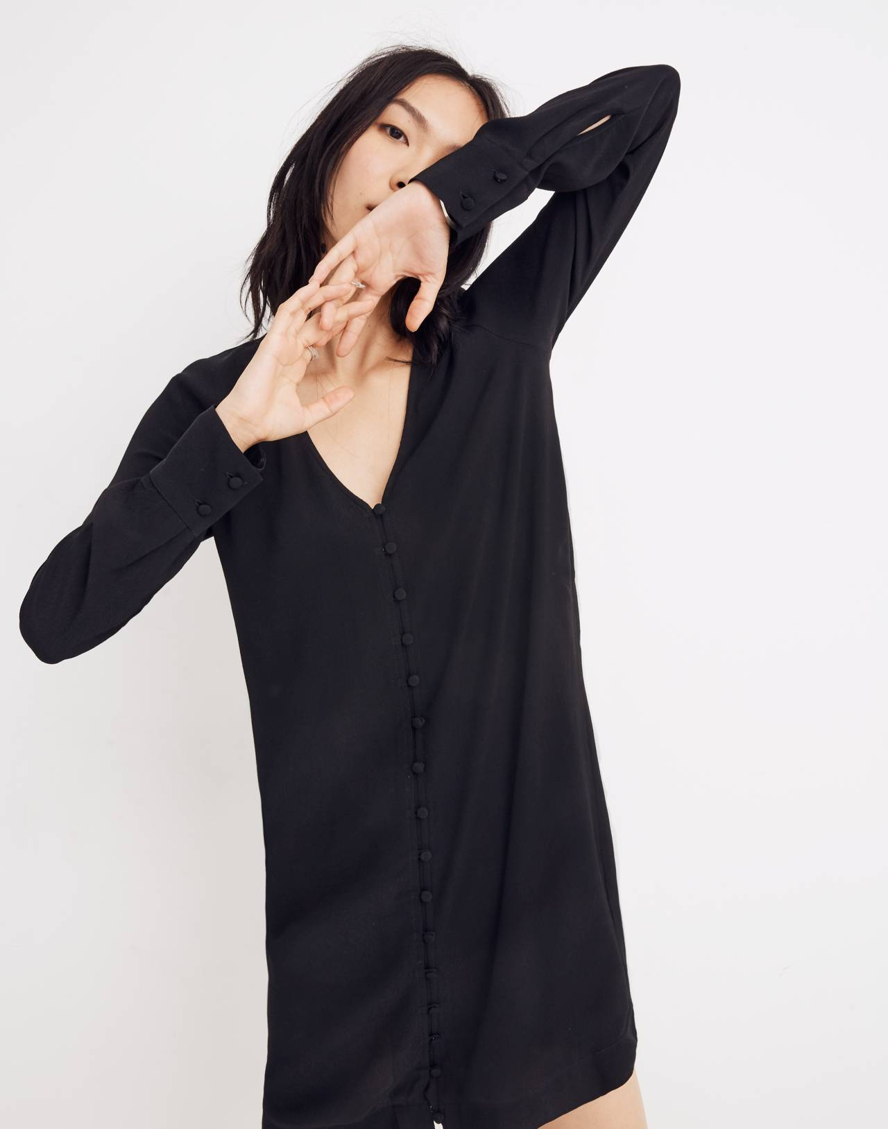 Heather Long-Sleeve Button-Front Dress in true black image 1