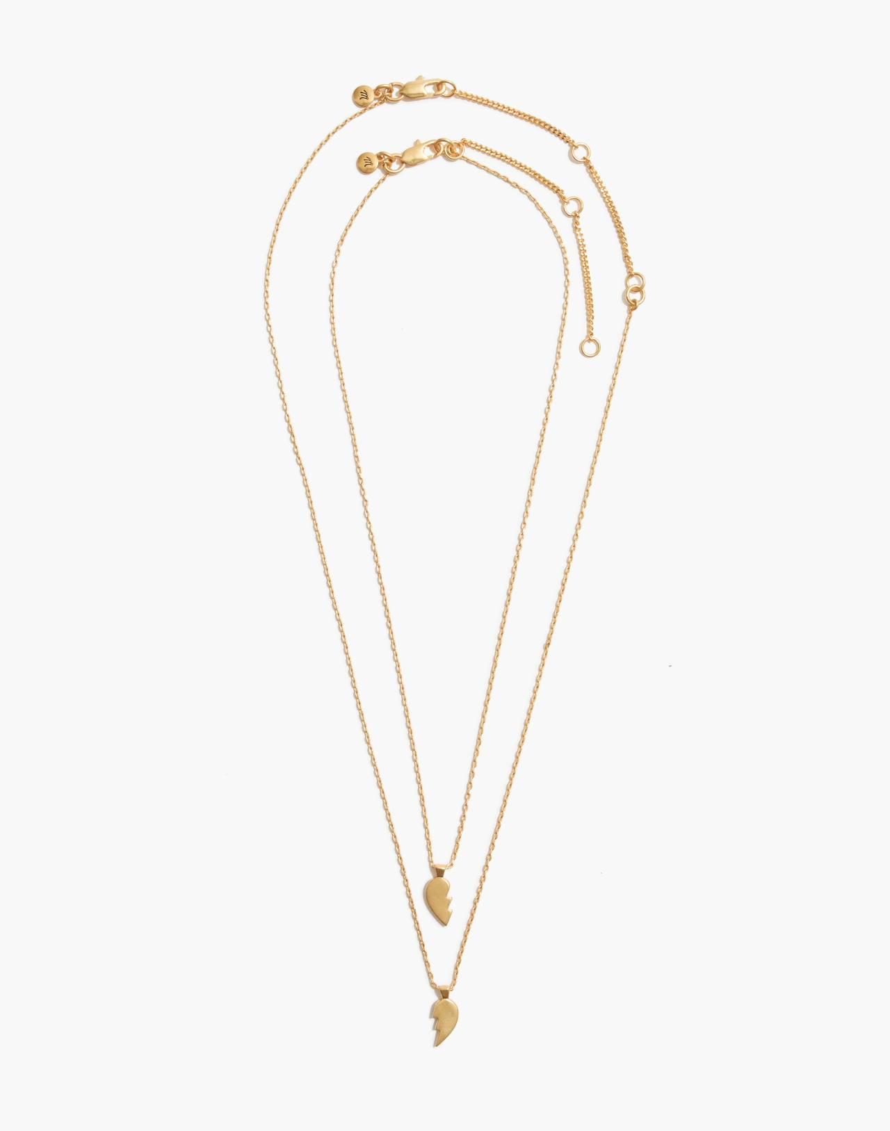 Heartbreak Friendship Necklace Set in vintage gold image 2