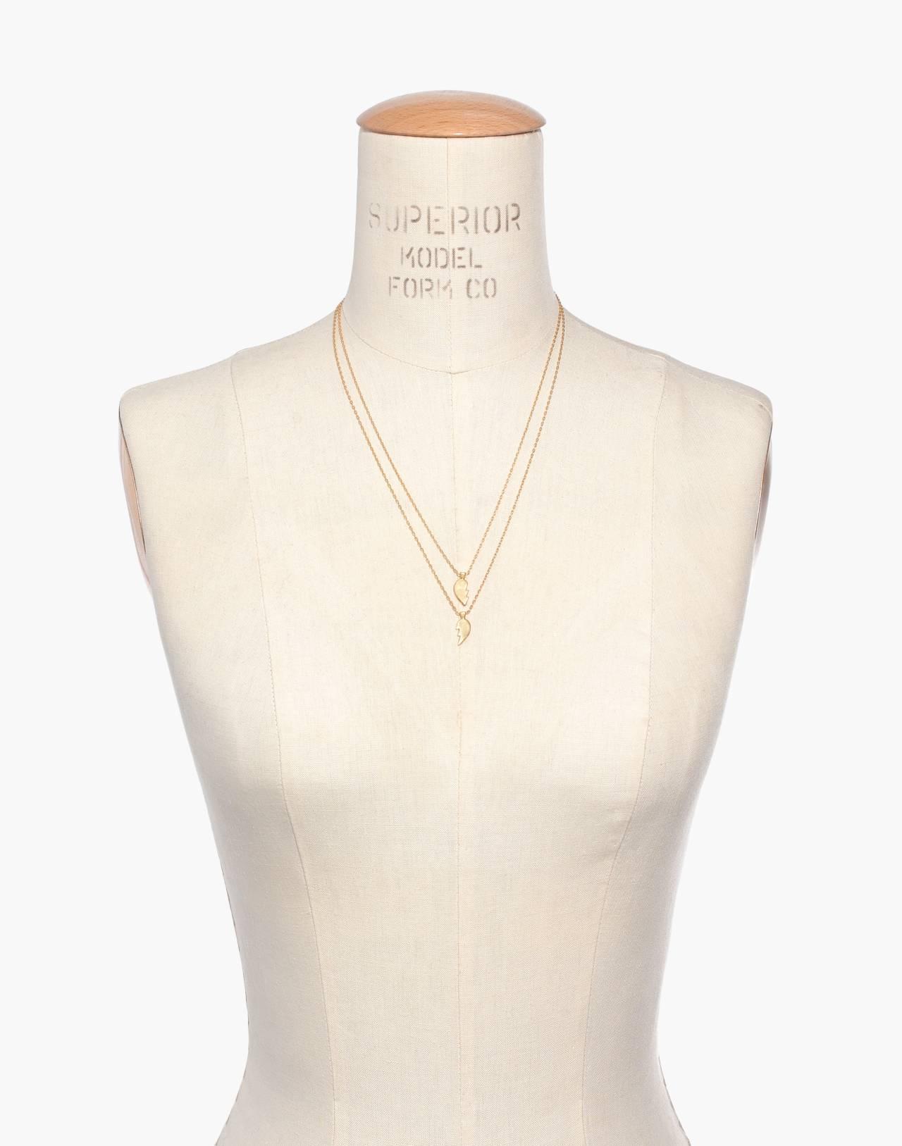 Heartbreak Friendship Necklace Set in vintage gold image 3