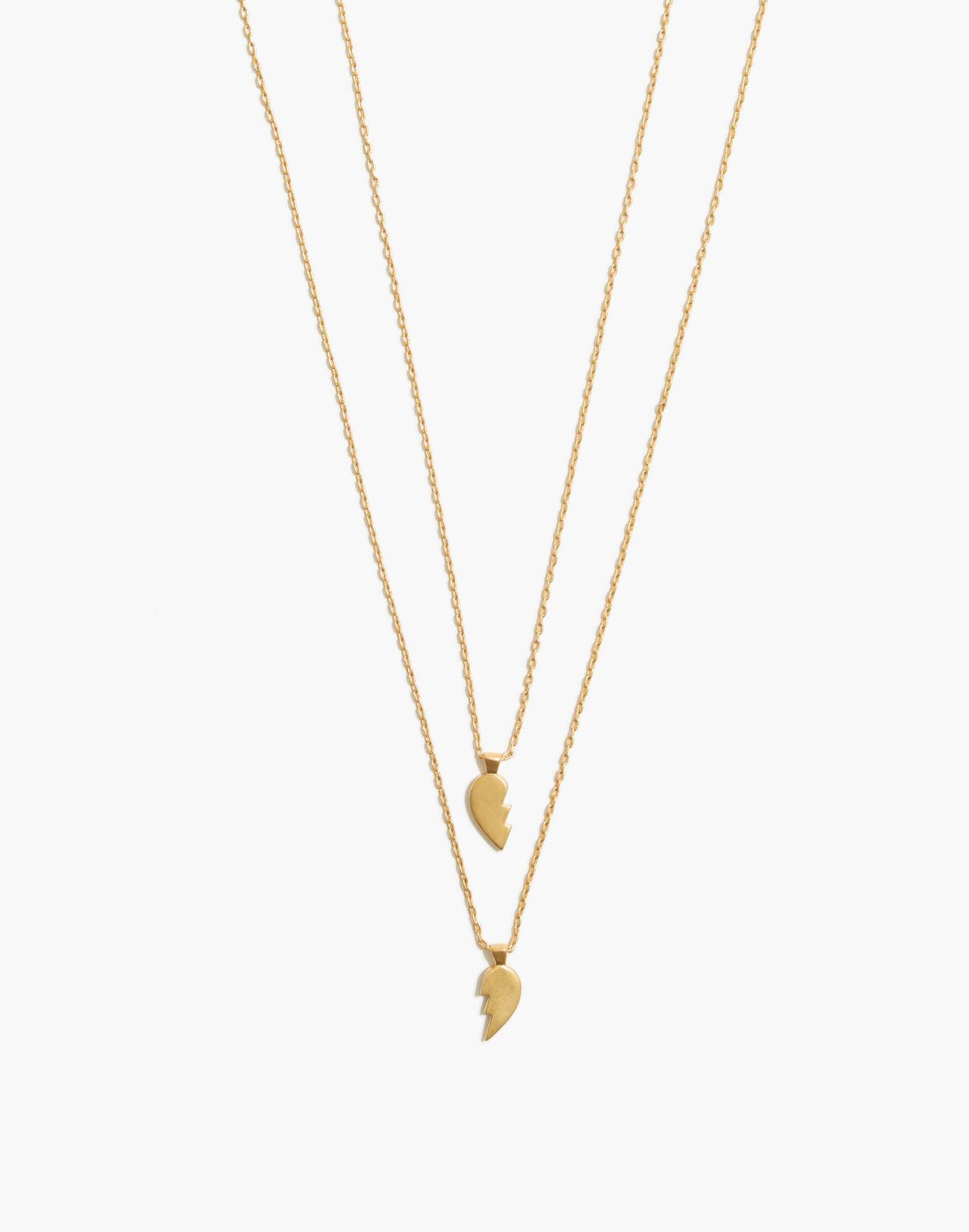 Heartbreak Friendship Necklace Set in vintage gold image 1