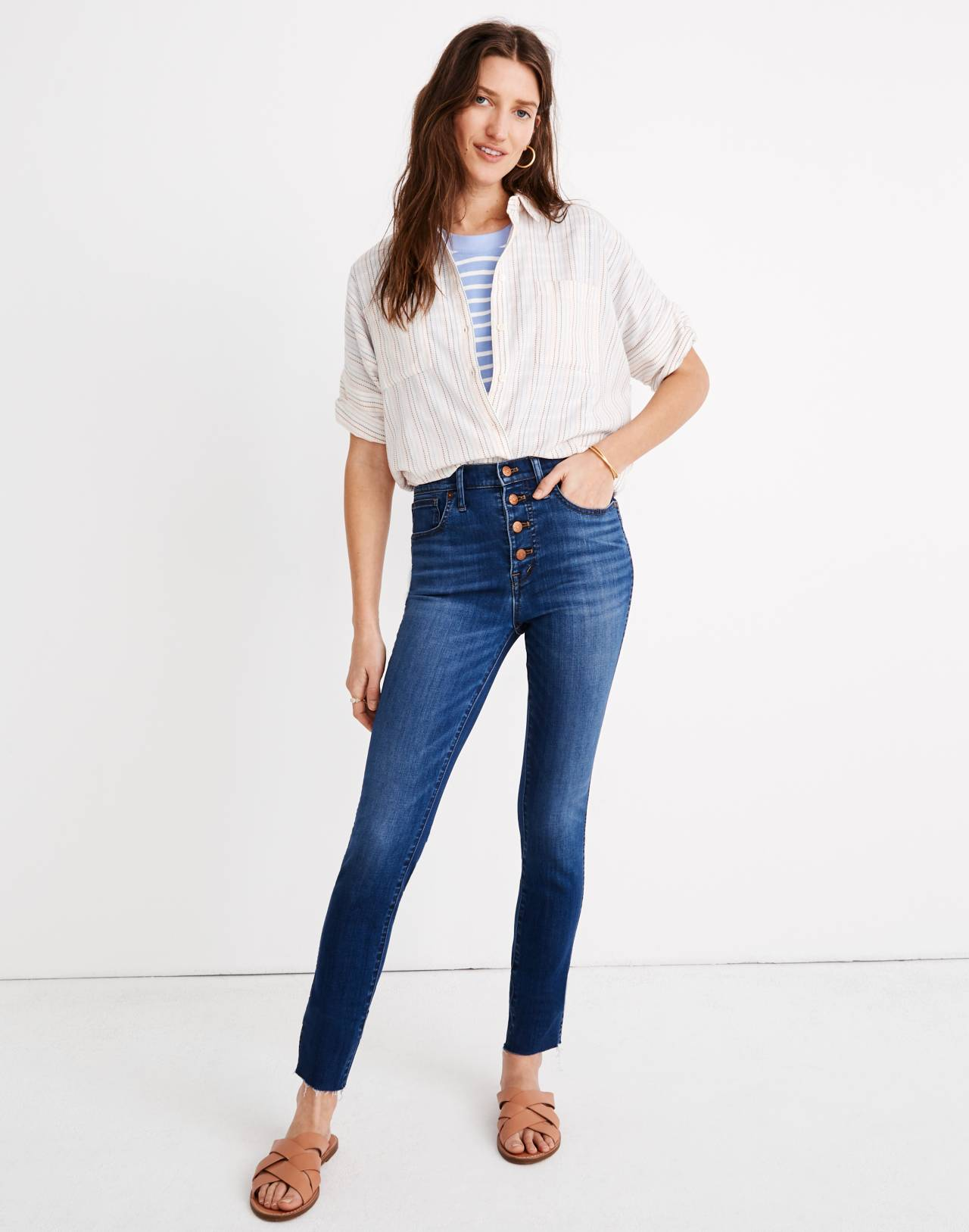 """10"""" High-Rise Skinny Crop Jeans: Button-Front Tencel™ Edition in hayden wash image 1"""