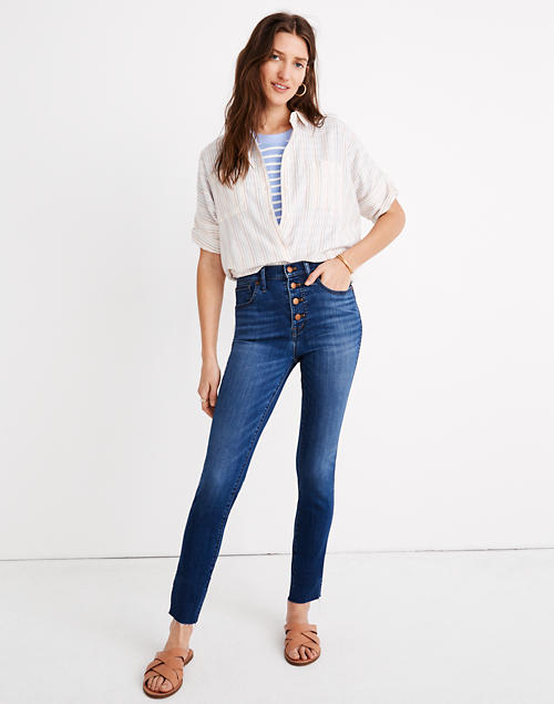 """10"""" High Rise Skinny Crop Jeans: Button Front Tencel™ Denim Edition by Madewell"""