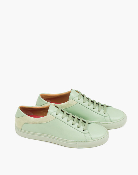Unisex Koio Capri Menta Low-Top Sneakers in Mint Leather in green image 1