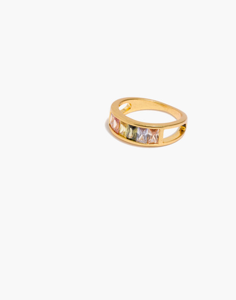 Rainbow Baguette Ring in vintage gold image 1