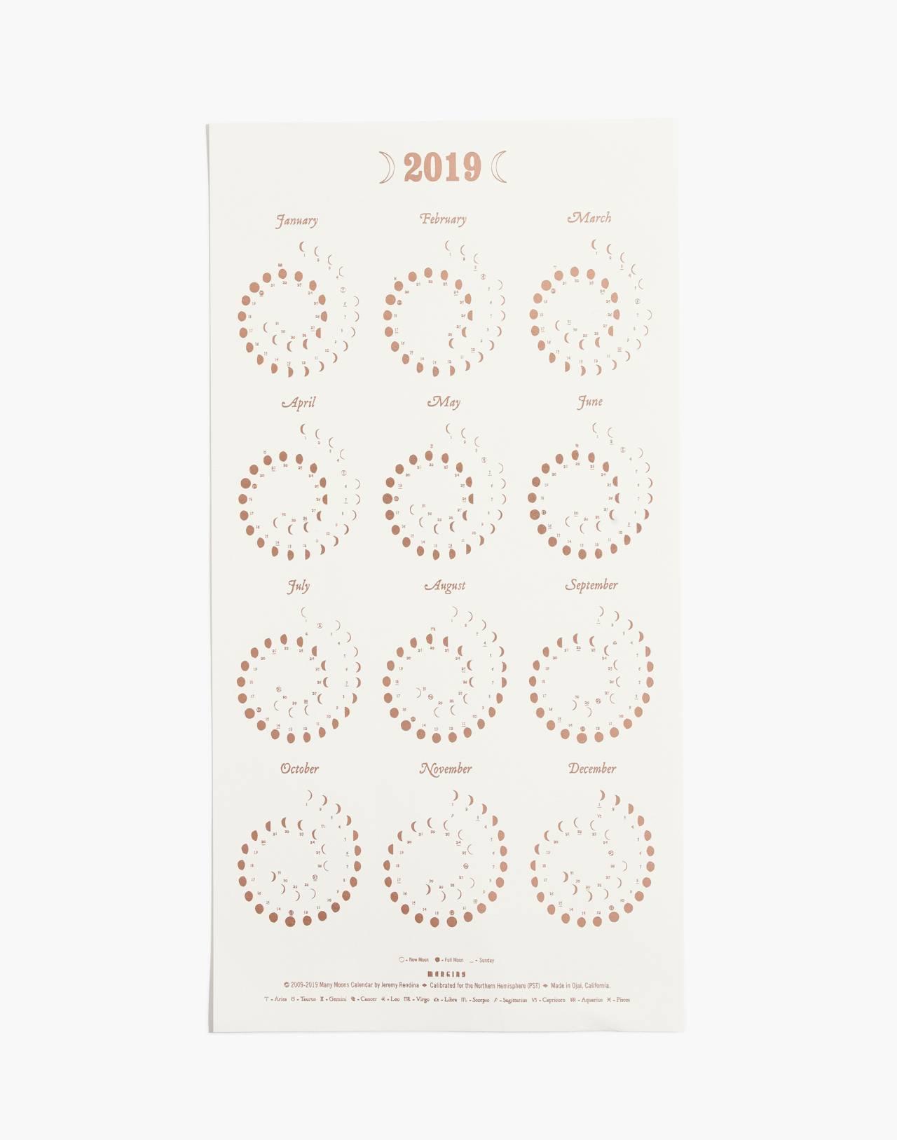 Margins Imprint 2019 Moon Calendar in rose gold/white image 1