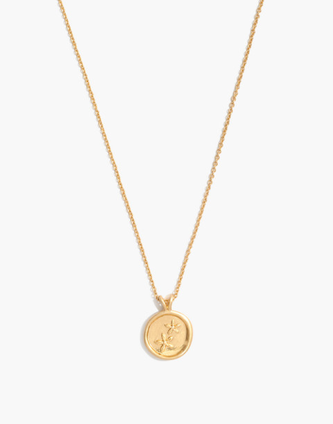 Posy Coin Necklace in vintage gold image 1