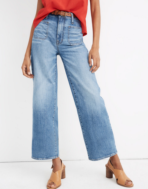 Wide-Leg Crop Jeans in Chesney Wash in chesney wash image 1