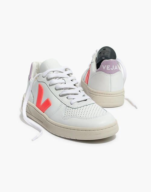 Madewell X Veja™ V 10 Leather Sneakers In Lilac And Neon Orange by Madewell