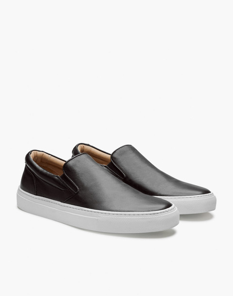 GREATS® Wooster Leather Slip-On Sneakers in black image 1