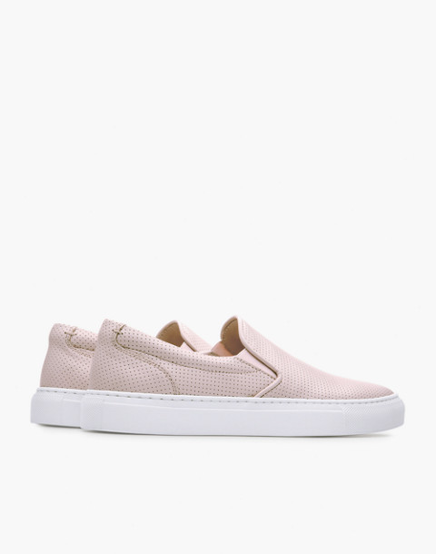 GREATS® Wooster Perforated Leather Slip-On Sneakers in pink image 3