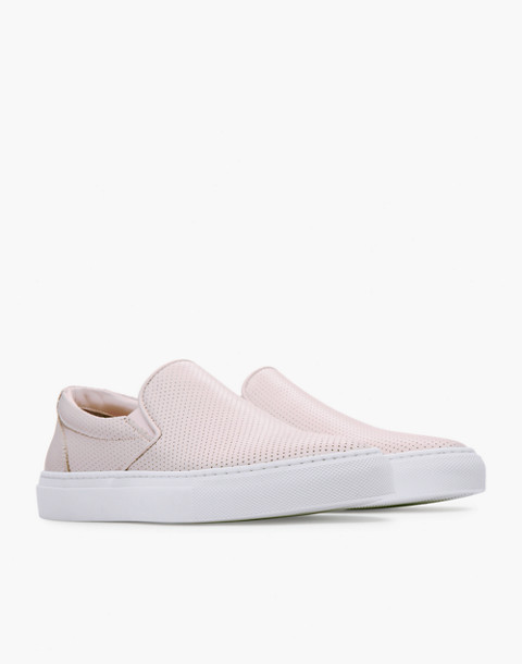 GREATS® Wooster Perforated Leather Slip-On Sneakers in pink image 1