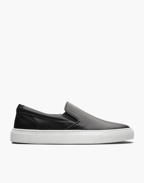 GREATS® Wooster Perforated Leather Slip-On Sneakers in black image 2