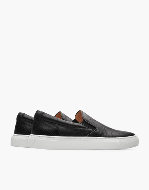 GREATS® Wooster Perforated Leather Slip-On Sneakers in black image 3