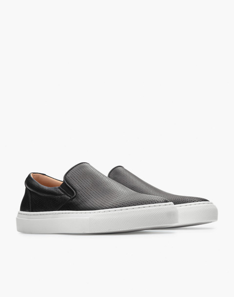 GREATS® Wooster Perforated Leather Slip-On Sneakers in black image 1
