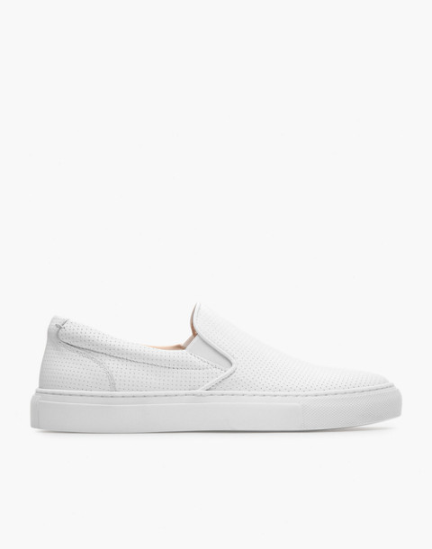 GREATS® Wooster Perforated Leather Slip-On Sneakers in white image 2