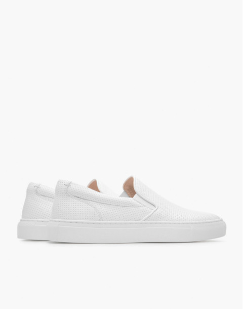 GREATS® Wooster Perforated Leather Slip-On Sneakers in white image 3