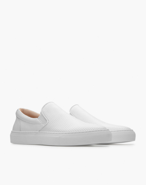 GREATS® Wooster Perforated Leather Slip-On Sneakers in white image 1