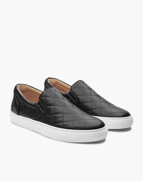 GREATS® Wooster Quilted Leather Slip-On Sneakers in black image 1