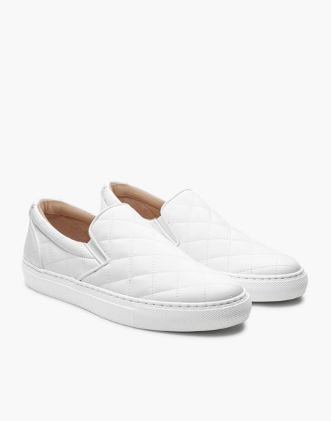 GREATS® Wooster Quilted Leather Slip-On Sneakers in white image 1
