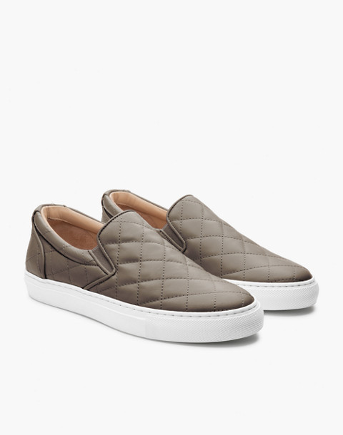 GREATS® Wooster Quilted Leather Slip-On Sneakers in green image 1