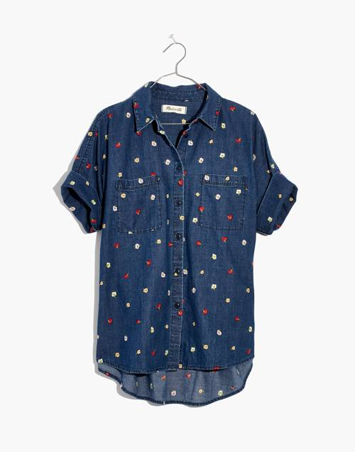 Embroidered Denim Courier Shirt in Confetti Floral in gardner wash image 4