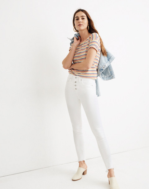 """10"""" High-Rise Skinny Jeans in Pure White: Step-Hem Edition in pure white image 1"""