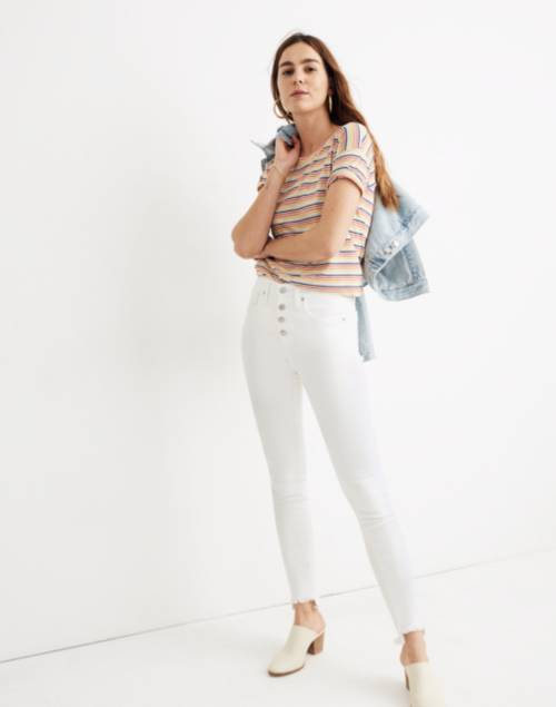 """Tall 10"""" High-Rise Skinny Jeans in Pure White: Step-Hem Edition   Madewell"""