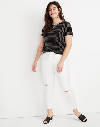 "9"" High Rise Skinny Crop Jeans In Pure White: Knee Rip Edition by Madewell"