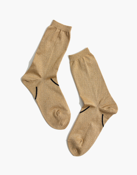 Madewell x Hansel from Basel™ Smiley Metallic Crew Socks in gold image 1