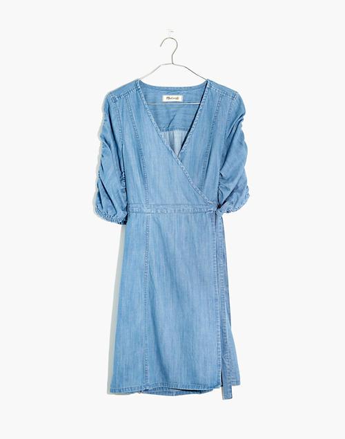 b5d975da53b Denim Shirred-Sleeve Wrap Dress in Elsworth Wash in hensley wash image 4