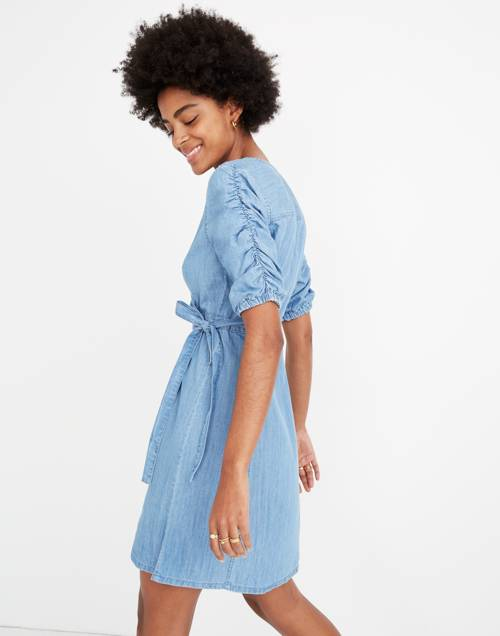 Petite Denim Shirred Sleeve Wrap Dress In Elsworth Wash by Madewell
