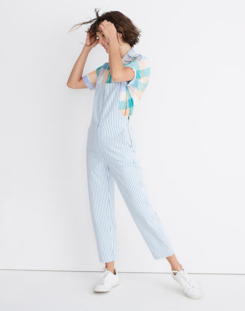 Petite Tie Strap Overalls In Railroad Stripe by Madewell