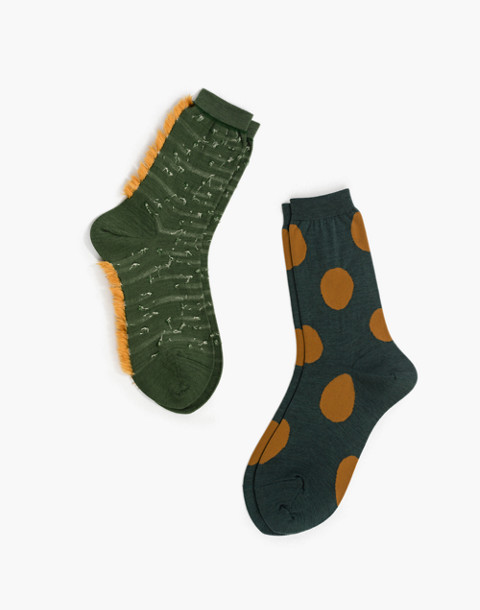 Hansel from Basel™ Two-Pack Dots and Texture Crew Socks in green image 1